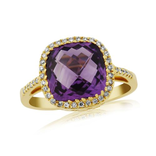Cushioned Shape Amethyst And Diamond Ring 9 Carat Yellow Gold Cluster Ring